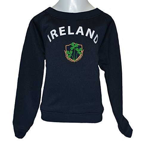 Lansdowne Green Ireland Shamrock Crest Kids Hoodie (11/12 Years) (Kids Sweatshirt Shamrock)