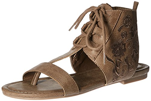 Sugar Women's Watercress Floral Flower Embroidered Thong Sandal Lace-up, Tan Embroidered,  7 M US