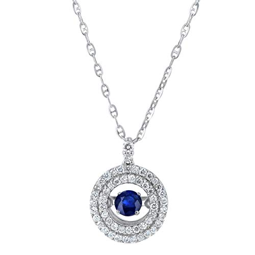 - Olivia Paris 14k White Gold Blue Sapphire Dancing Diamond Pendant Necklace (1/4 cttw, H-I, I1), 18