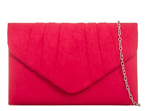 Women's Bag Cocktail Red Faux Purse Ladies KW308 Evening Suede Envelope Clutch Handbag Bag aYTwz1Inq