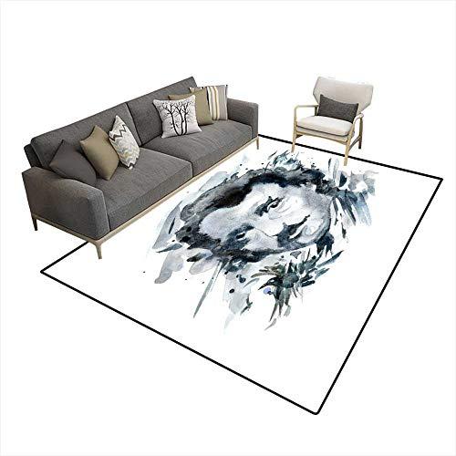 (Area Rugs for Bedroom Edgar Allan Poe Portrait in Watercolor Wash on White 6'6