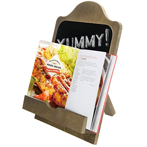 MyGift Country Style Wood Cookbook Chalkboard Stand with Kickstand