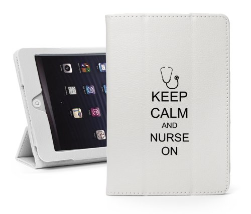 For Apple iPad Mini 4 White Leather Magnetic Smart Case Cover Keep Calm and Nurse On