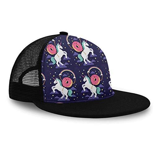 (YongColer Boys Snapback Hat Flat Bill Hats, Donut Rides On Rainbow Unicorn, Mesh Baseball Cap Trucker Hat Summer Cap for Kids Teens)