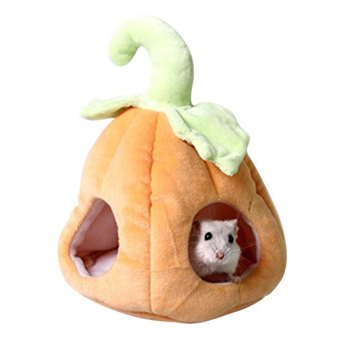 Yinrunx Small Pet Hammocks Winter Warm Hanging Nest Bed for Cage Hamster Guinea Pig Pumpkin Design -