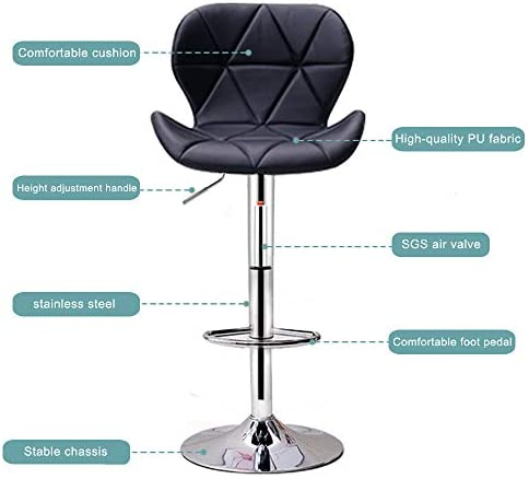 DH DHOUTDOORS Leatherette Bar Stool, High Chair with Well Upholstered Seatback, Large Base, Height Adjustable Stool (60-80cm) and 360 ° Rotation (Black)