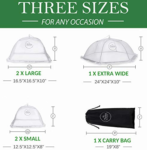 Chefast Food Cover Tents (5 Pack) - Combo Set of Pop Up Mesh Covers in 3 Sizes and a Reusable Carry Bag - Umbrella Screens to Protect Your Food and Fruit from Flies and Bugs at Picnics, BBQ and More by Chefast (Image #1)