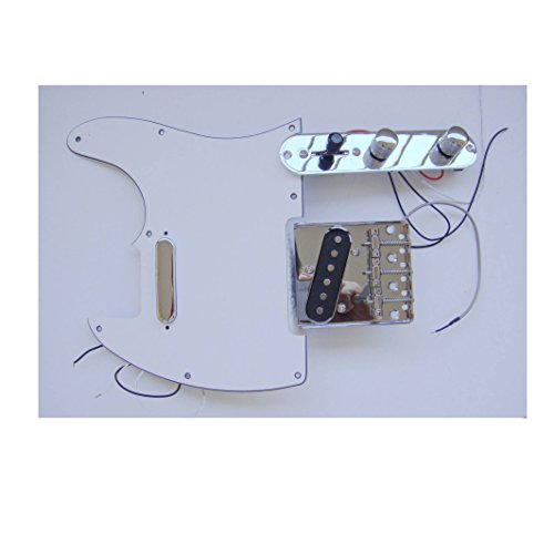 Fastmusic Prewired White 3Ply Tele Guitar Pickguard Control Bridge Kit by Generic (Image #1)