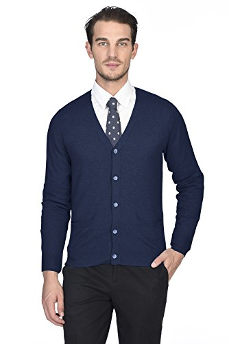(State Cashmere Men's 100% Pure Cashmere Button Front Long Sleeve Cardigan Sweater)
