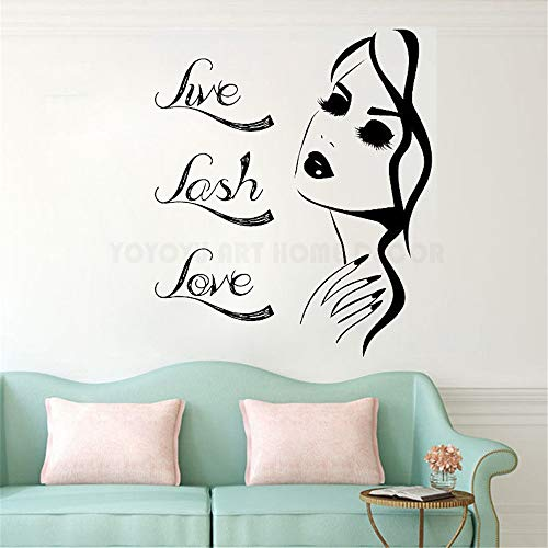 - Wall Quotes Decal Wall Stickers Art Decor Live Lash Love Quote Women Eyelash Beauty Salon Eyelash Brows Make Up Window