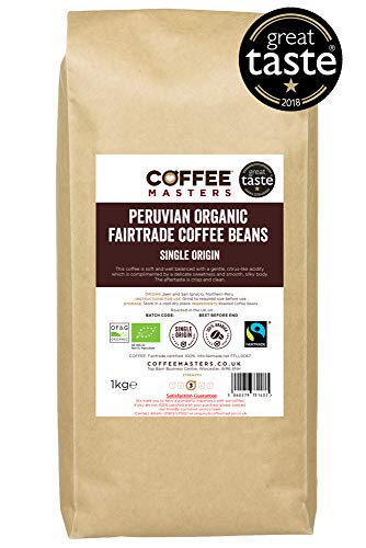 Coffee Masters Peruvian, Organic, Fairtrade, Coffee Beans 1kg - Great Taste...