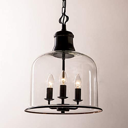 LITFAD 3 Lights Cup Shape Pendant Light Fixture Traditional Industrial Vintage Retro Single Chandelier Clear Glass Ceiling Light