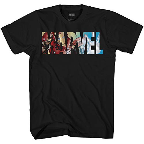 Marvel Logo Ironman Iron Man Avengers Super Hero Adult Graphic Men's T-Shirt (Premium Black, Medium)