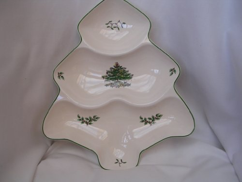 (Christmas Tree Divided Serving Bowl Canapy Dish Home Decor 12