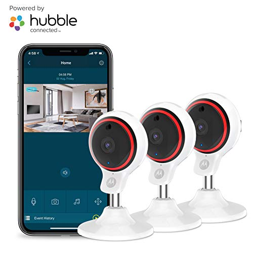 Motorola Focus71-3 Indoor Security Camera System – Surveillance, Elderly, Pet, Baby Monitor with Two-Way Audio Talk – Mountable Base, 1080p Video, 90-Degree Wide Angle View, Low Light and Night Vision