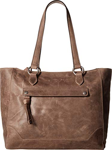 FRYE Melissa Zip Leather Tote, Grey