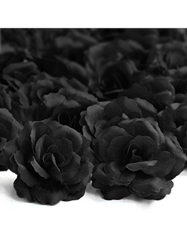 Freshheart 20pcs Artificial Big Rose Flower Heads Black Party Wedding DIY HS8-17