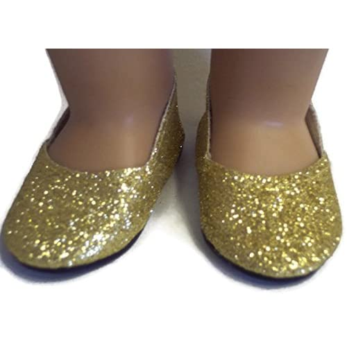 72f2812930be 18 Inch Doll Shoes Gold Sparkle Princess Shoes Made for 18