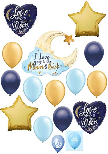 (DalvayDelights I Love You to The Moon and Back Gold & Blue Welcome Baby Shower Happy Birthday Decoration Balloon Set)