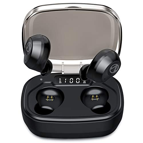U-ROK Bluetooth 5.0 Wireless Earbuds with 1600mAh Portable Charging Case, Touch Control in-Ear Earphones Built-in Mic HD Stereo Sound IP67 Waterproof Headphones for Running Sports (Best Waterproof Headphones For Running)