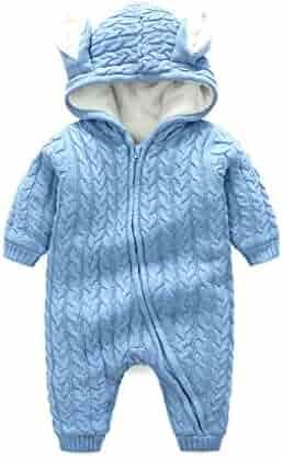 SWEETHA Newborn Baby Girl Boy Hooded Jumpsuit Cartoon Bear Velvet Romper Clothes Outdoor Snowsuit