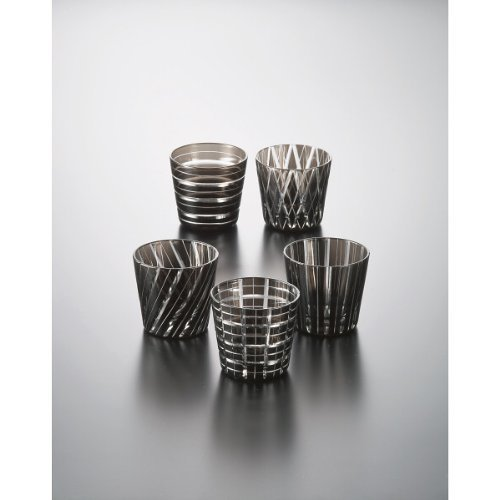 Sake Cup 5pcs SET Guinomi Kiriko Cut Glass Cup Black Japanese Gko-1111-000bk