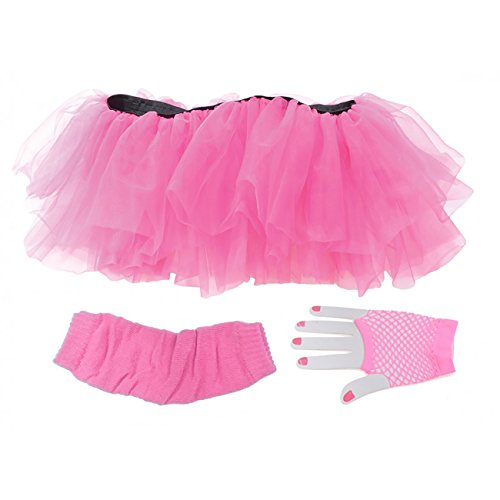 Molly Ringwald Halloween Costumes (Underwraps Tutu Set Neon Pink Adult Costume OS)