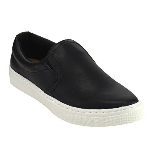 Soda IF13 Frauen Classic Elastic Panel Slip auf genähte Mode Sneaker Schwarz