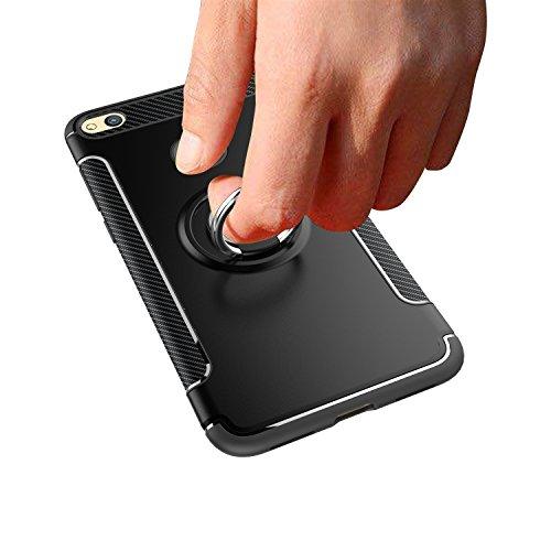 GR Para Huawei Honor 8 Lite / P8 Lite 2017 armadura doble capa de protección de la caja con el titular del anillo de dedo giratorio y la caja del sostenedor del coche del imán ( Color : Blue ) Navy