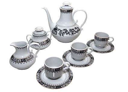Santa Clara Granada China Negro - Juego de café 6 servicios, 15 piezas