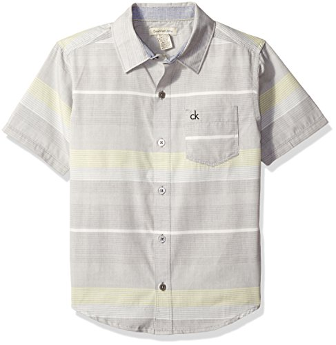 Calvin Klein Big Boys' Horizontal Bold Stripe Short Sleeve Shirt, Medium Grey, M10/12 Bold Stripe Cotton Shirt