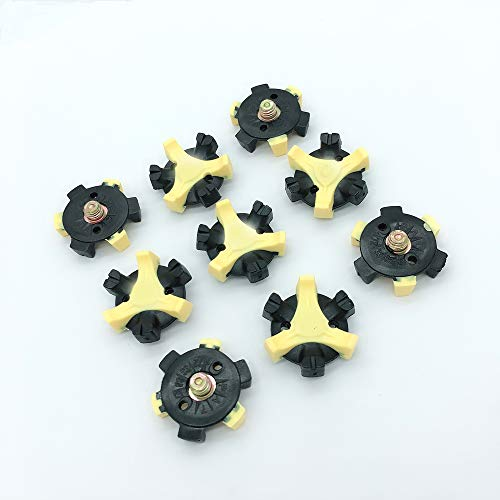OLEYO 28Pcs Black Yellow Fast Twist Golf Shoe Spikes Golf Shoe Cleats Replacements for 1/4 Metal Thread Screw Studs Golf Shoes