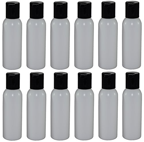 2-oz Refillable Bottle with Disc Cap (12 Pack, Black) Black Flip Top Lids
