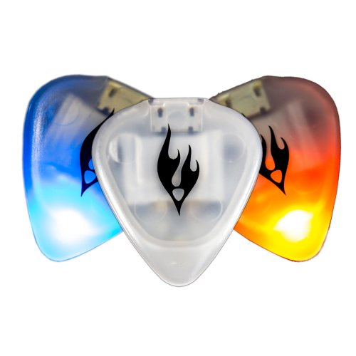 The Firefly Guitar Pick, Duo Sky/Flame, orange/blue LIGHT UP YOUR SOUND - Motion sensor LED light show, rechargeable via micro USB cable - COOL, UNIQUE, FUN gift for acoustic, electric, bass guitarist