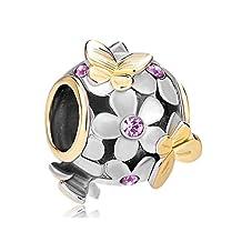 Butterfly Flower Charm Rose Pink Birthstone Crystal Sale Cheap Bead Fits Pandora Bracelet