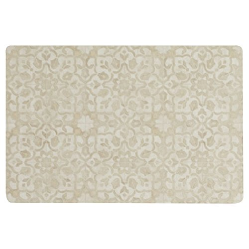 Vinyl Floor Mat, Durable, Soft and Easy to Clean, Ideal for Kitchen Floor, Mudroom or Pet Food Mat. Freestyle, Brass Filigree Pattern (2 ft x 3 ft)
