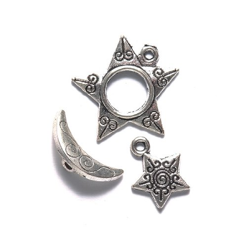 Toggle Star - Shipwreck Beads Zinc Alloy Toggle Clasp with Charm, Star and Moon, 20mm, Silver, 16-Pack