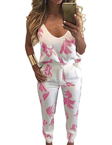 FANCYINN Women 2 Pieces Outfit Jumpsuit Floral Print Top + Long Pants Pink L (2 Pink Piece Floral)