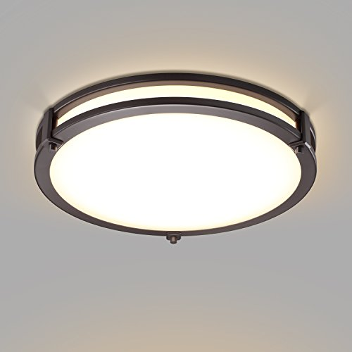 GetInLight LED Flush Mount Ceiling Light, 12-Inch, 15W(75W Equivalent), Bronze Finish, 3000K(Soft White), Dimmable, Round, Dry Location Rated, ETL Listed, ...