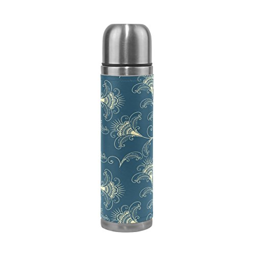 TSWEETHOME Vacuum Insulated Water Bottle Double Wall Stainless Steel Leak Proof Wide Mouth with Novelty Graphic Classical Fancy Texture Compact Bottle Beverage Bottle