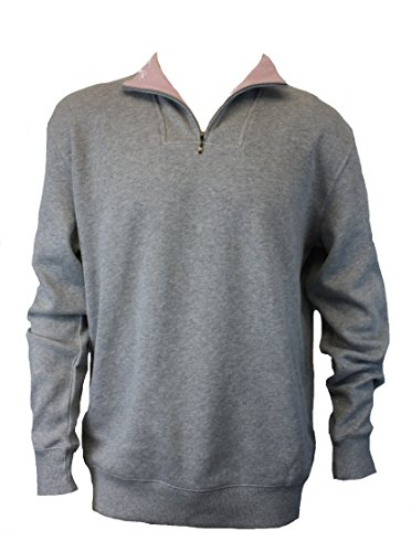 100% Cotton Quarter Zip Pullover (X-Large, Grey w/Pink)