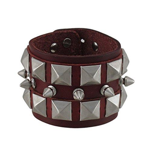 Studded Pyramid Wristband - Zeckos Brown Leather Spiked Studded Wristband