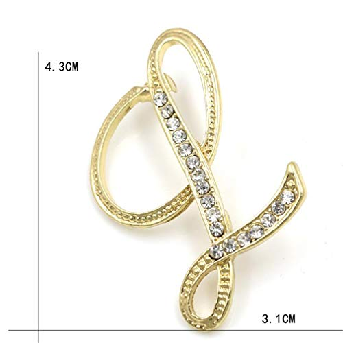 - DARLING HER Letters A to M Clear Crystal Rhinestone Brooch Pins for Women Jewelry in Gold Color Plated Letter L