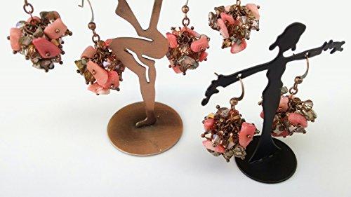 (Leopard skin Jasper, Bamboo Coral, crystal cluster earrings)