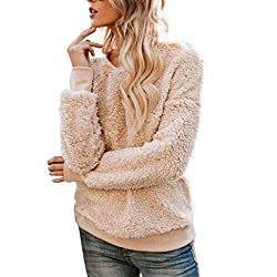 Creazrise Womens Fuzzy Sherpa Fleece Long Sleeve Sweaters Loose Crewn Pullovers Coat Khaki Xl