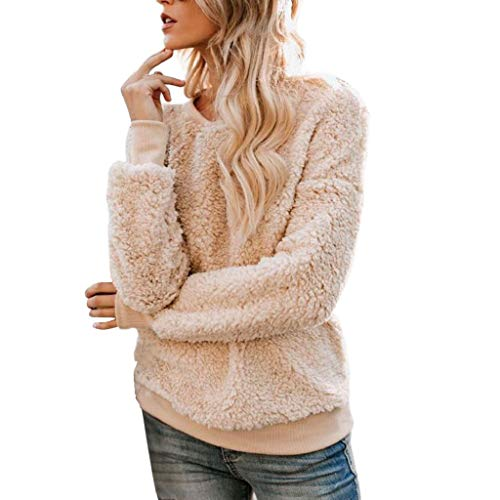 (Creazrise Womens Fuzzy Sherpa Fleece Long Sleeve Sweaters Loose Crewn Pullovers Coat (Khaki,XL))