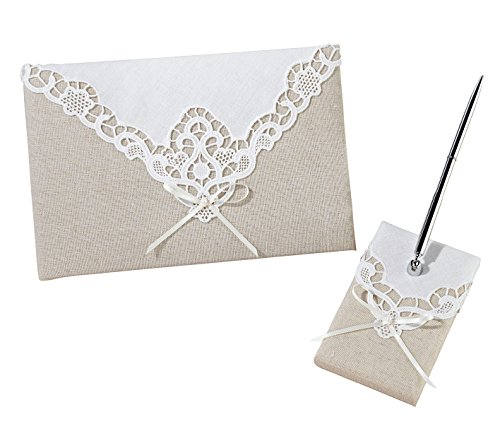 - Lillian Rose Rustic Country Lace Wedding Guest Book Pen Set