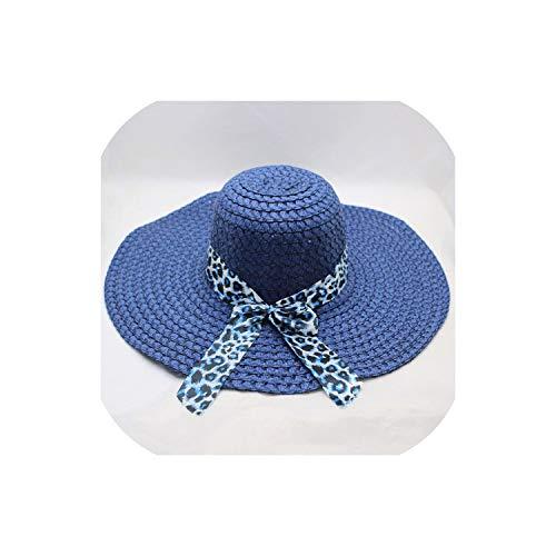 Heart-To-Heart sunhat Women Straw Hat Big Wide Brim Leopard Print Cute Big Brim Straw Hat Sun Floppy Wide Brim Hats,Blue,United States -