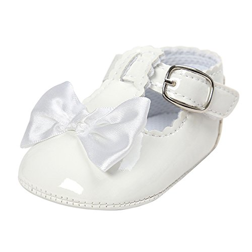 White Leather Girls Shoes (ESTAMICO Baby Patent Leather Mary Jane Infant Dress Shoes Girls 6-12 Months White)