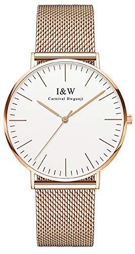 Gosasa Brand Mens Simple Style Quartz Watch Ultra Thin Rose Gold Mesh Watch